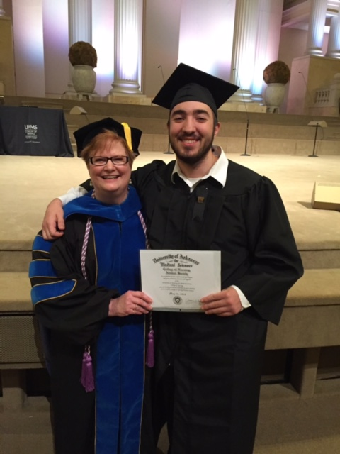 Robert Middaugh and his mother, UAMS College of Nursing faculty member Donna Middaugh PhD.,RN.